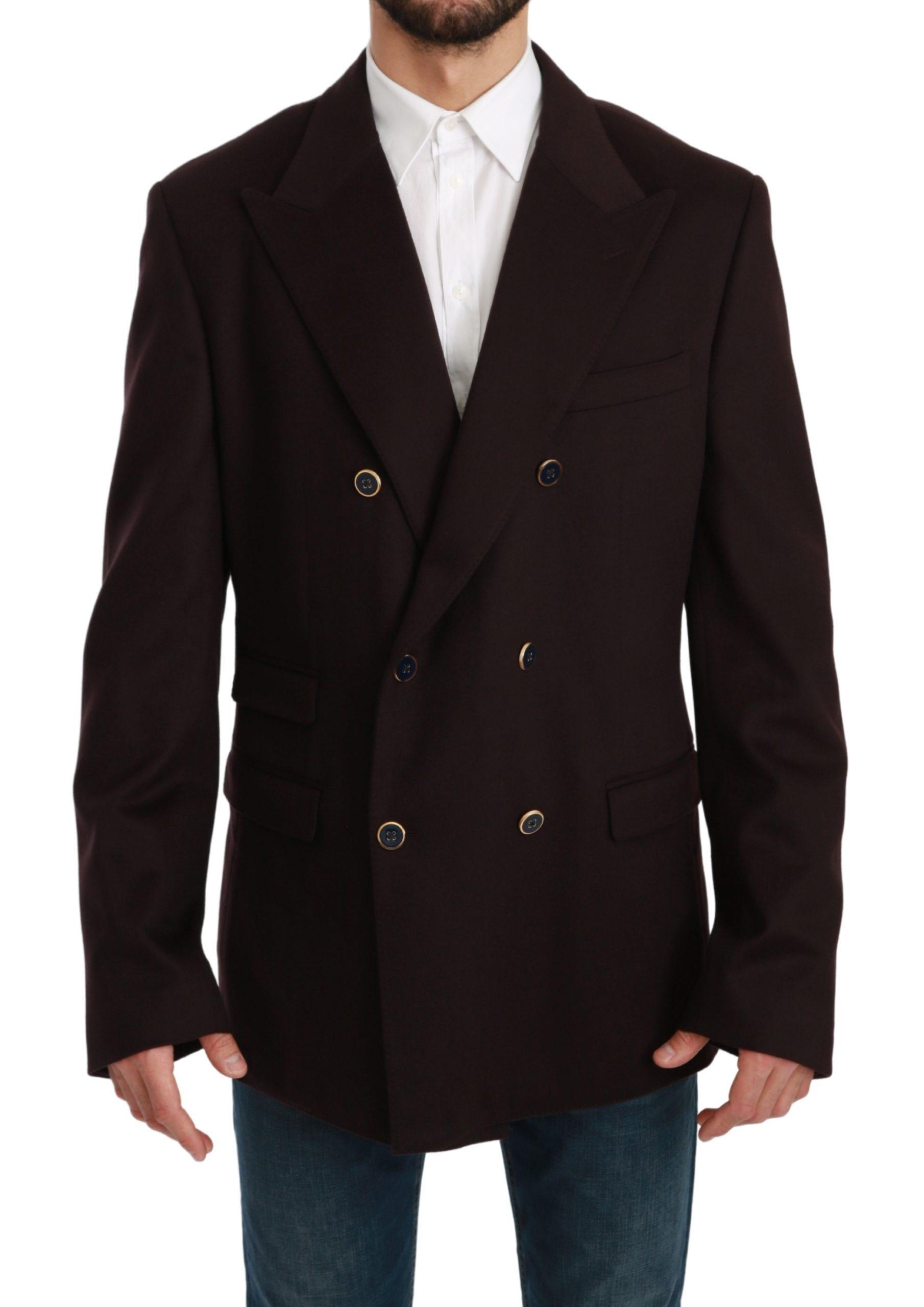 Dolce & Gabbana Men's Cashmere Coat TAORMINA Blazer Bordeaux KOS1722 - IT56 | XXL