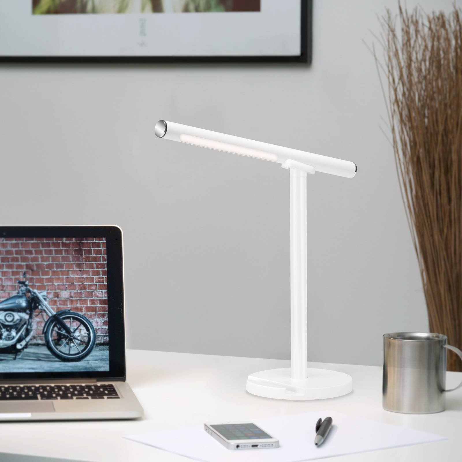 LED-bordlampe Everywhere, USB med batteri, hvit
