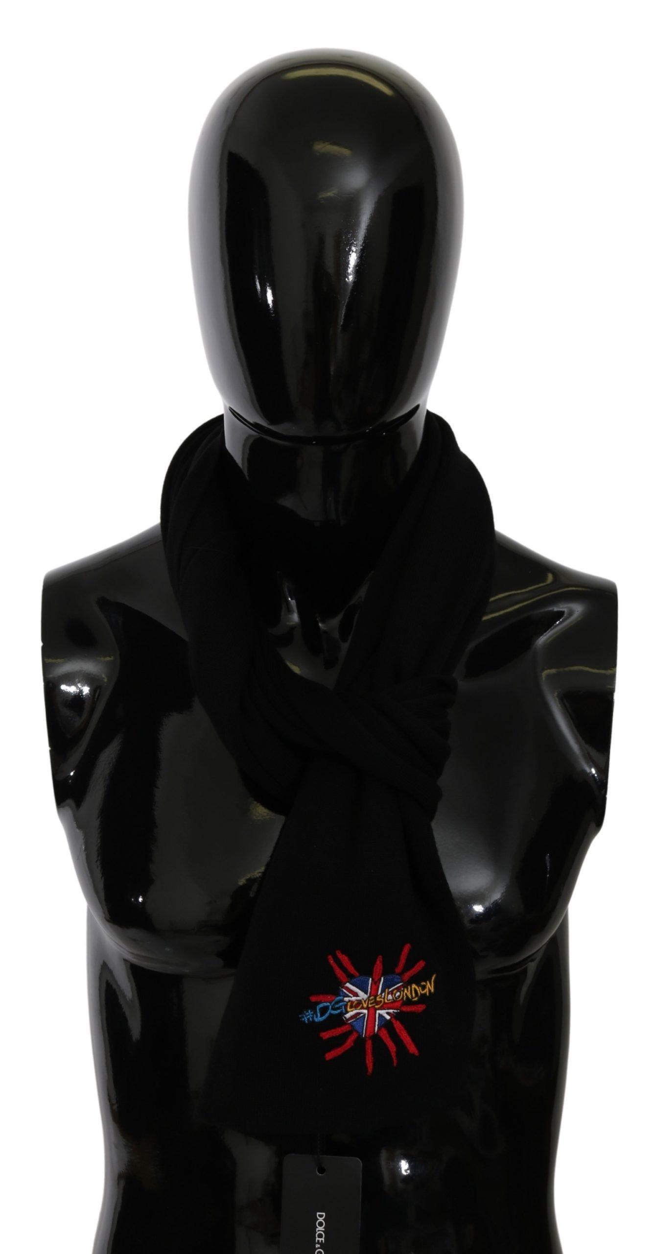 Dolce & Gabbana Men's Wrap Wool Scarf Black MS5644