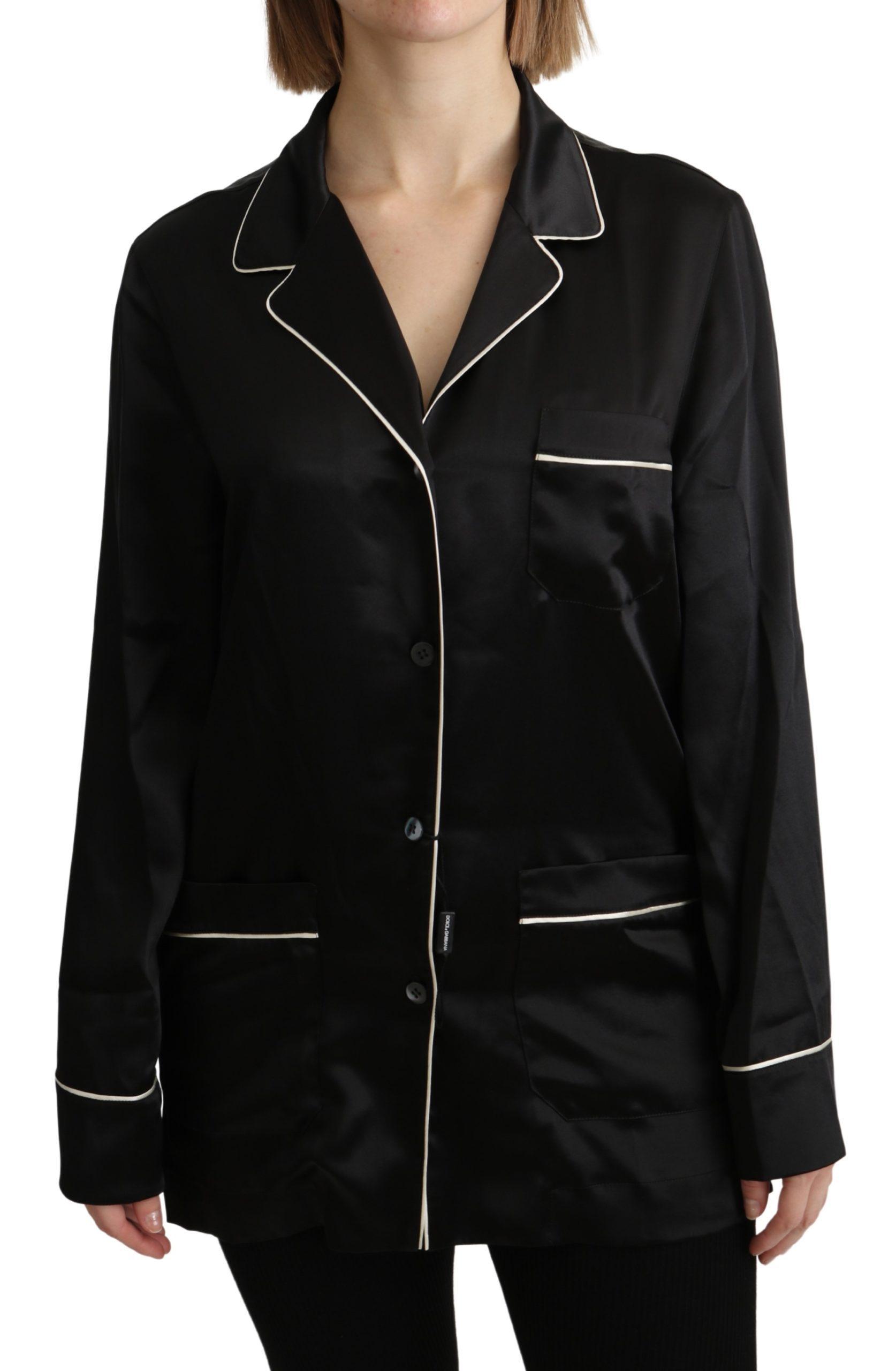 Dolce & Gabbana Women's Silk Stretch Shirt Black TSH4819 - IT44|L