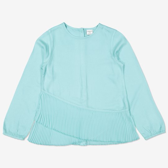 Bluse med plissert volang turkis