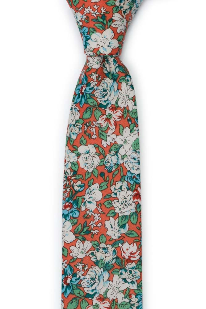 Bomull Smale Slips, Turkise & hvite blomster på rustoransje, Oransje, Blomster