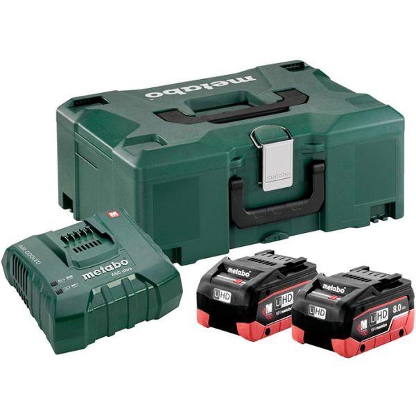 Metabo Bas-set Ladepakke 2 stk. 8,0Ah-batterier, lader og koffert