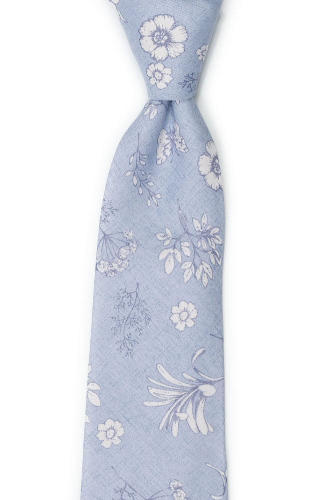 Bomull Slips, Pudderblå base med hvitt blomstermønster, Blå, Blomster