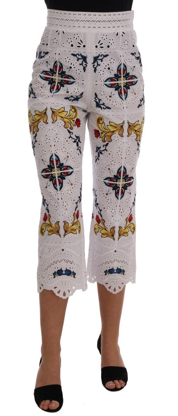 Dolce & Gabbana Women's Majolica Cutout Capri Trouser Multicolor BYX1222 - IT38 XS