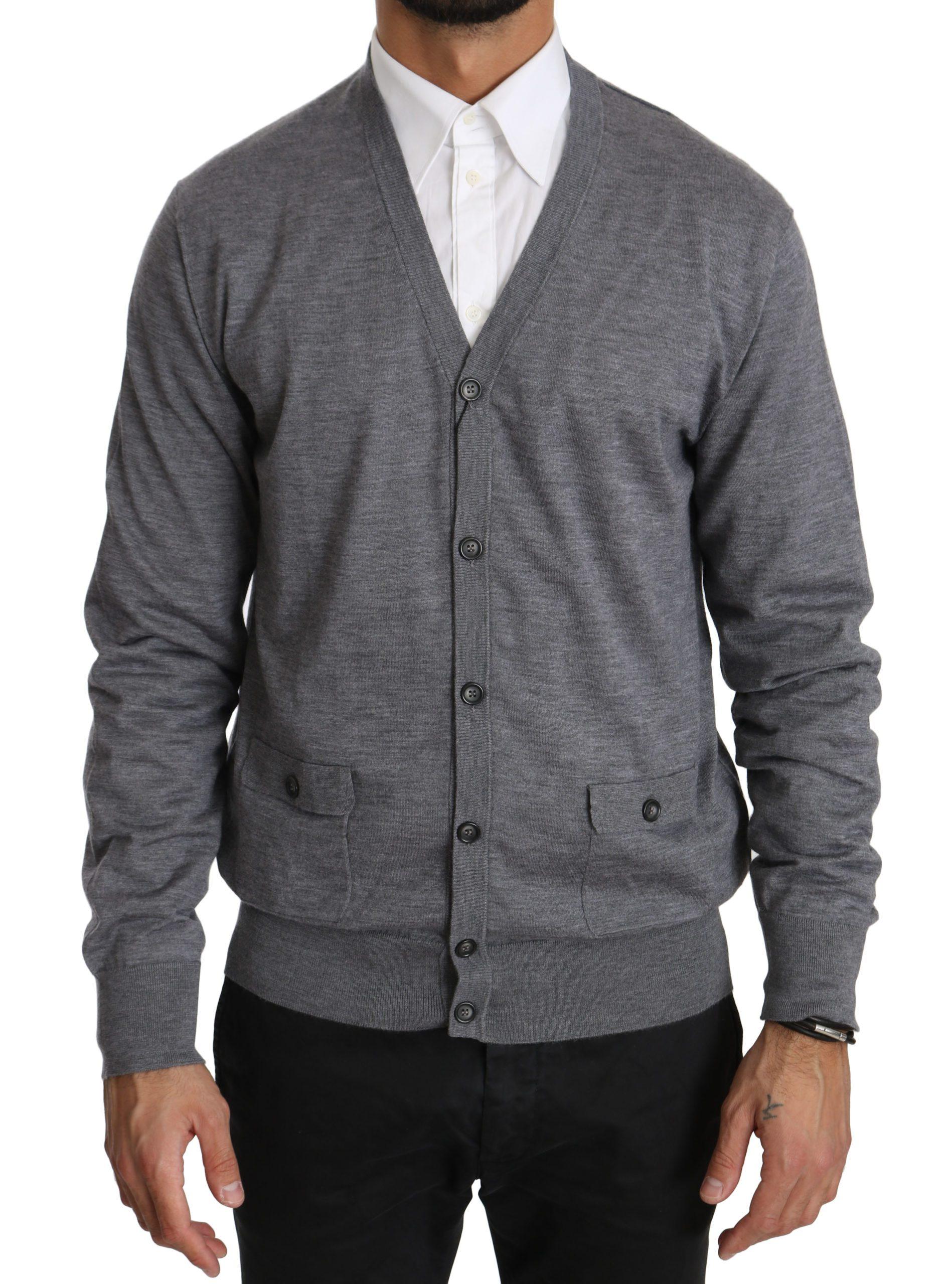 Dolce & Gabbana Men's Cashmere Button Down Cardigan Gray TSH4030 - IT50 | L