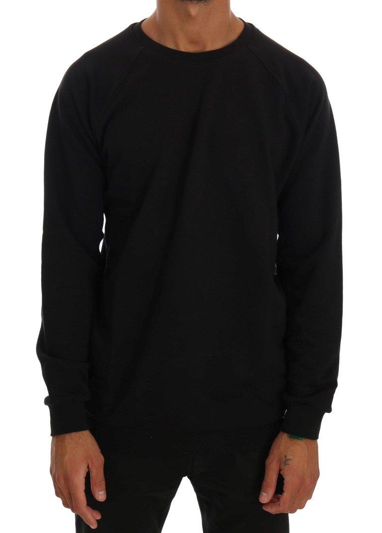 Daniele Alessandrini Men's Crewneck Cotton Pullover Sweater Black TSH1352 - L