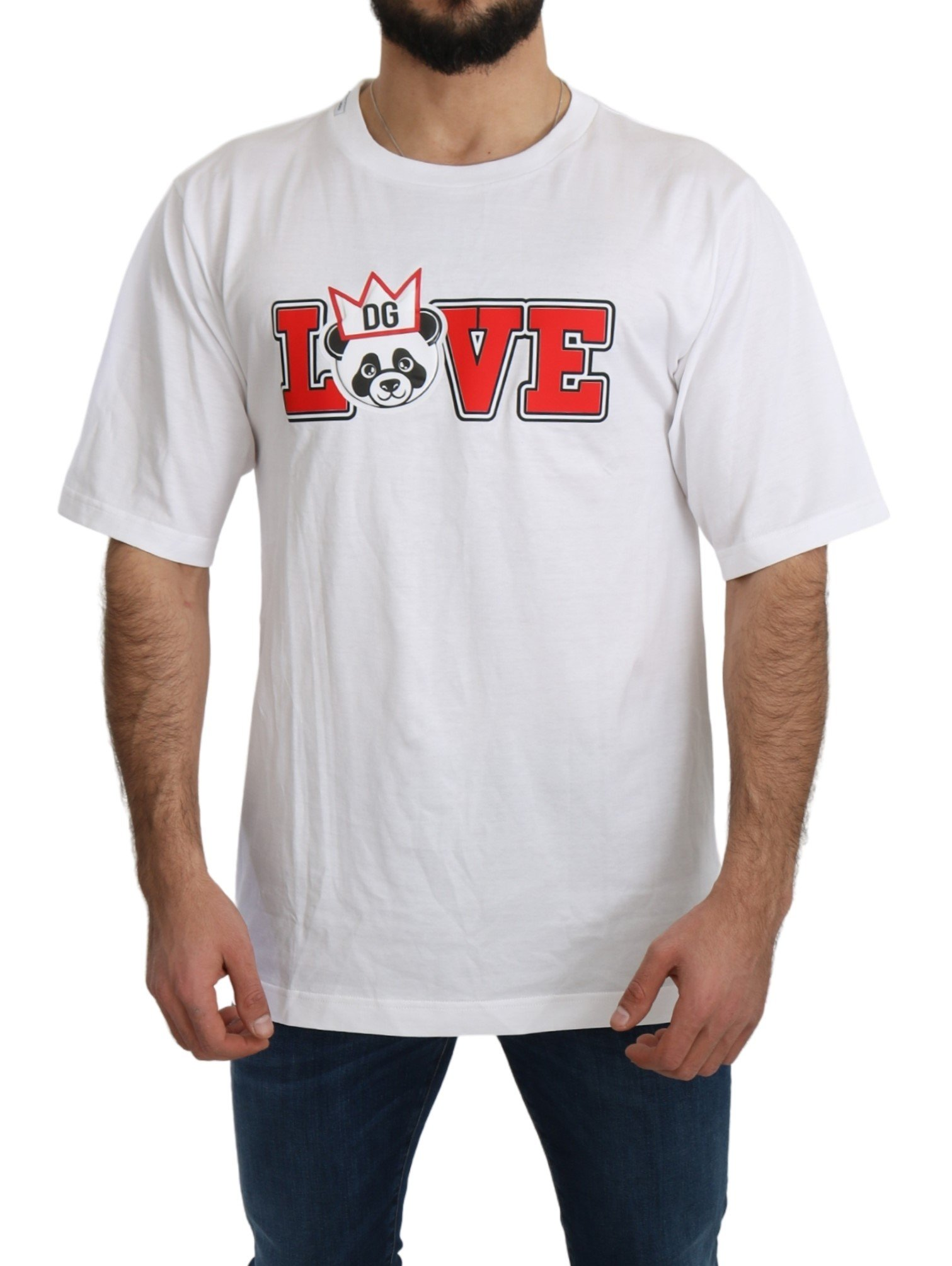 Dolce & Gabbana Men's Love Panda Print T-Shirt White TSH4955 - IT44 | XS