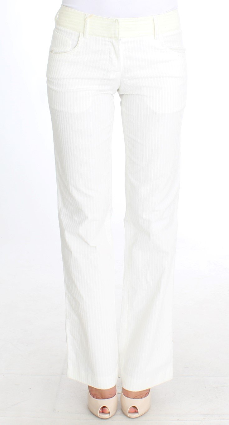 Ermanno Scervino Women's Striped Straight Fit Trouser White SIG30369 - IT42|M