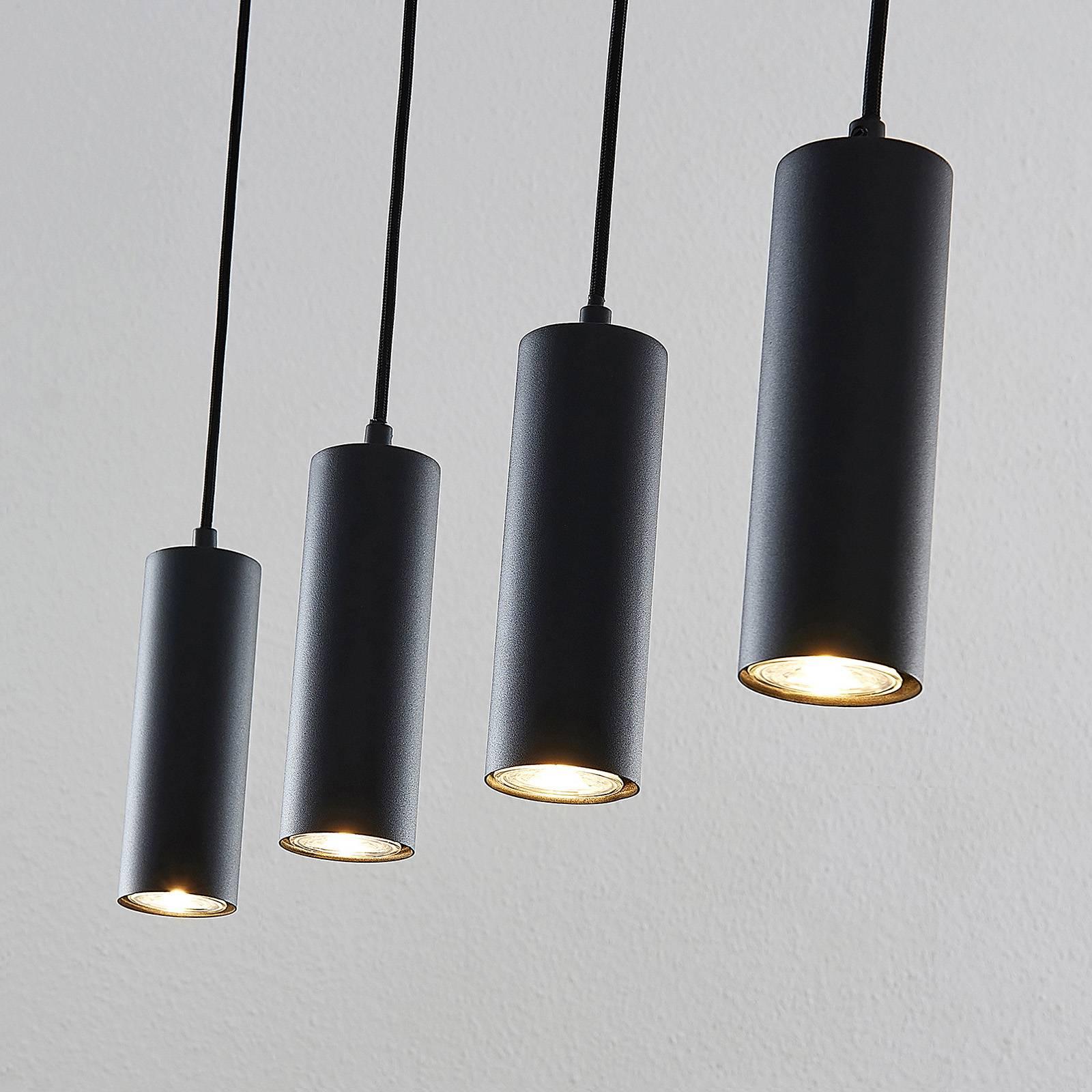 Lindby Joffrey -riippuvalaisin, 4-lamp., musta