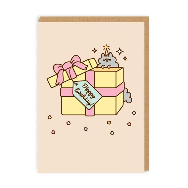 Pusheen Happy Birthday Present With Tag Greeting Card