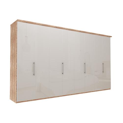 Garderobe Atlanta - Lys rustikk eik 400 cm, 216 cm, Med gesims