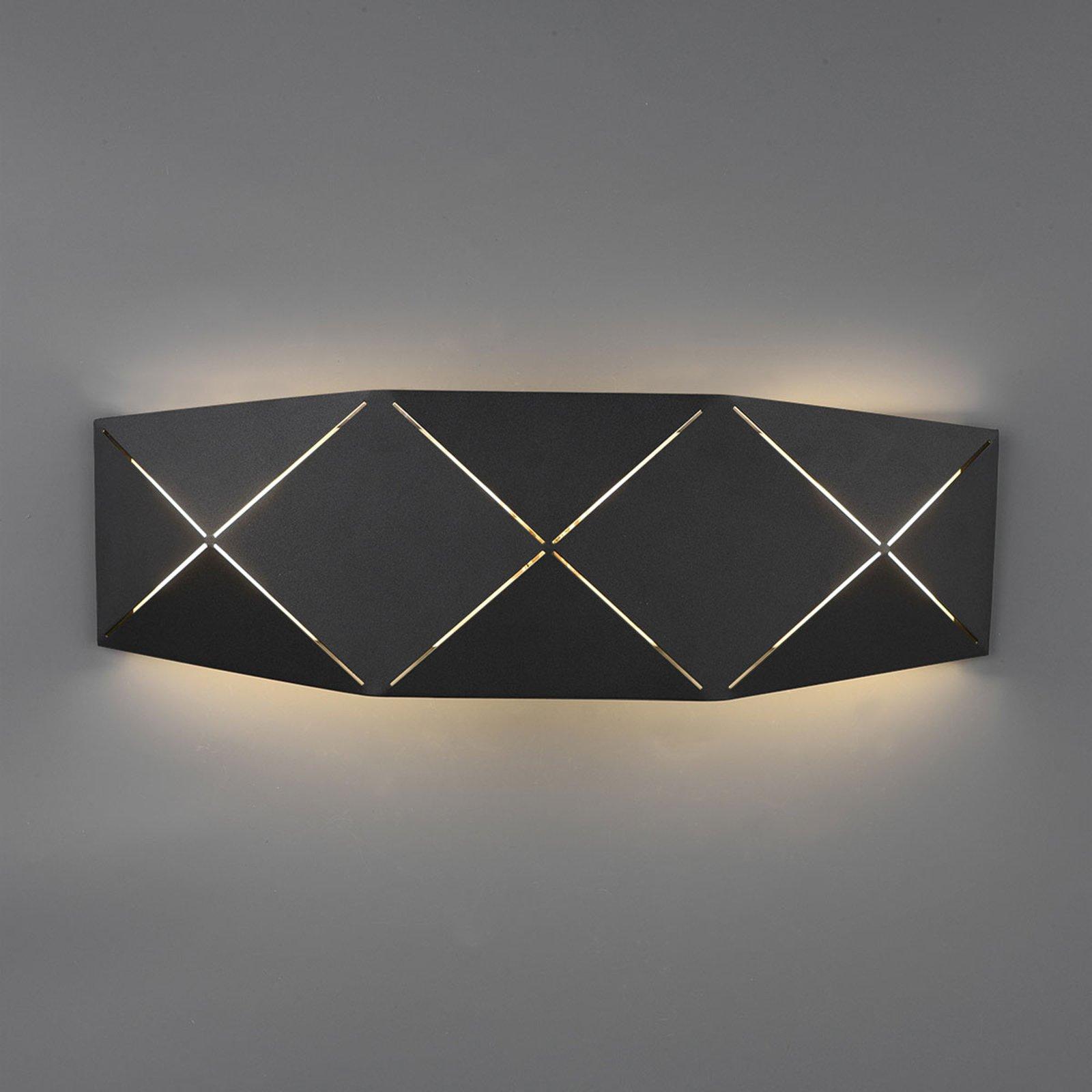 LED-vegglampe Zandor i svart, bredde 40 cm