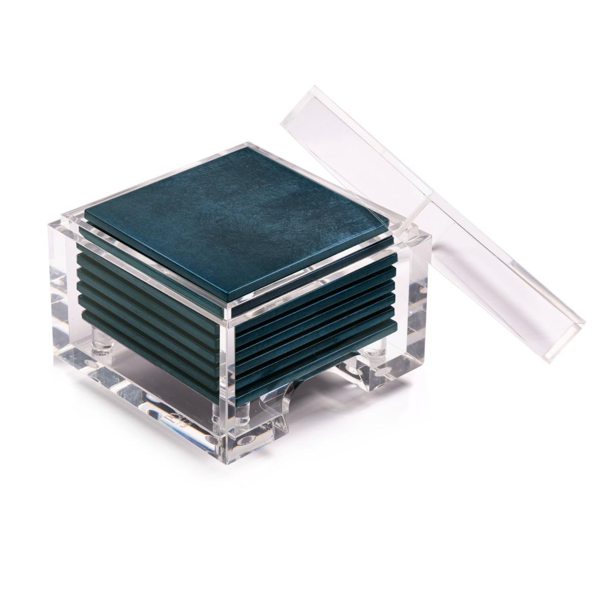 Posh Trading I Coasters I Coastbox Clear I Silver Leaf I Matte Blue
