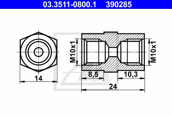 Adapteri, jarrujohto ATE 03.3511-0800.1