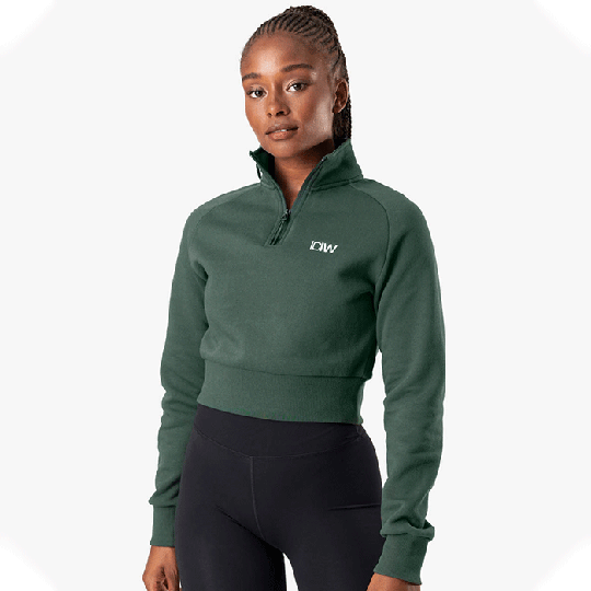Essential Cropped Sweater, Moss