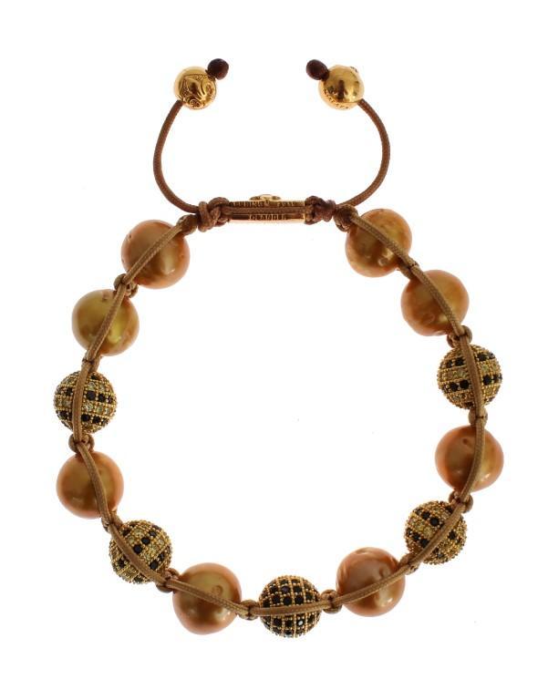 Nialaya Women's Clear CZ Pearls Bracelet Gold SIG19019 - M