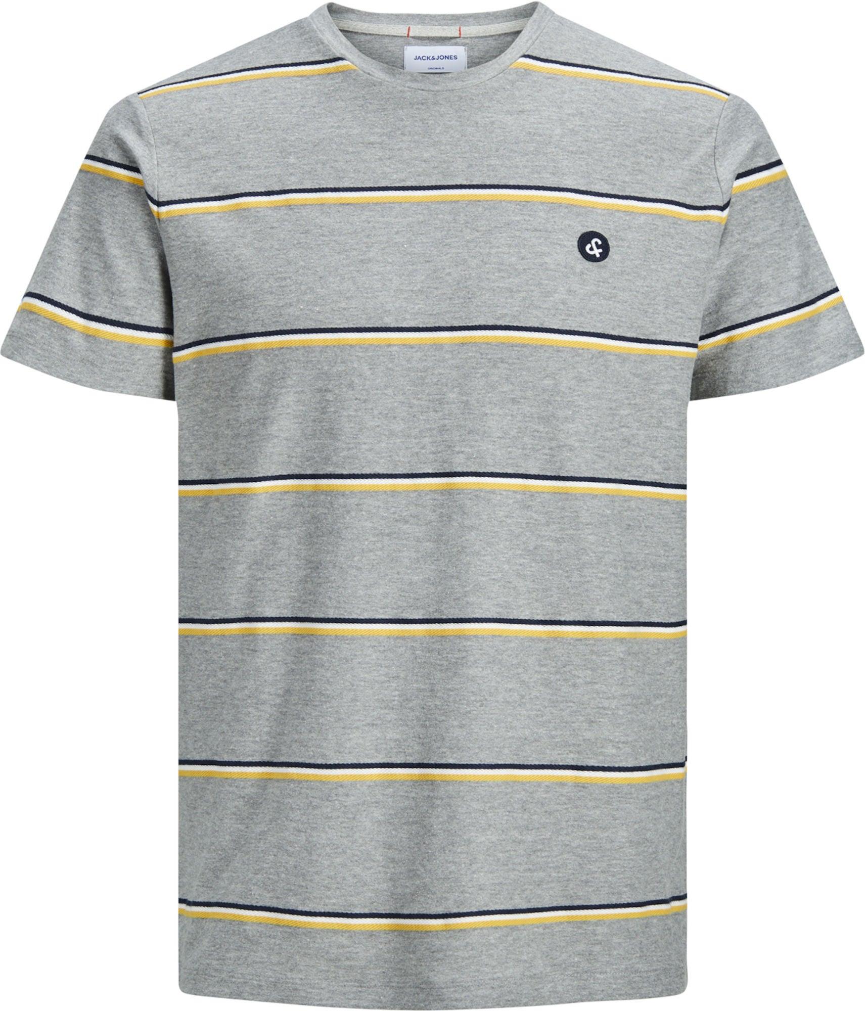 Jack & Jones Herringbone Crewneck T-Shirt, Light Grey Melange 152