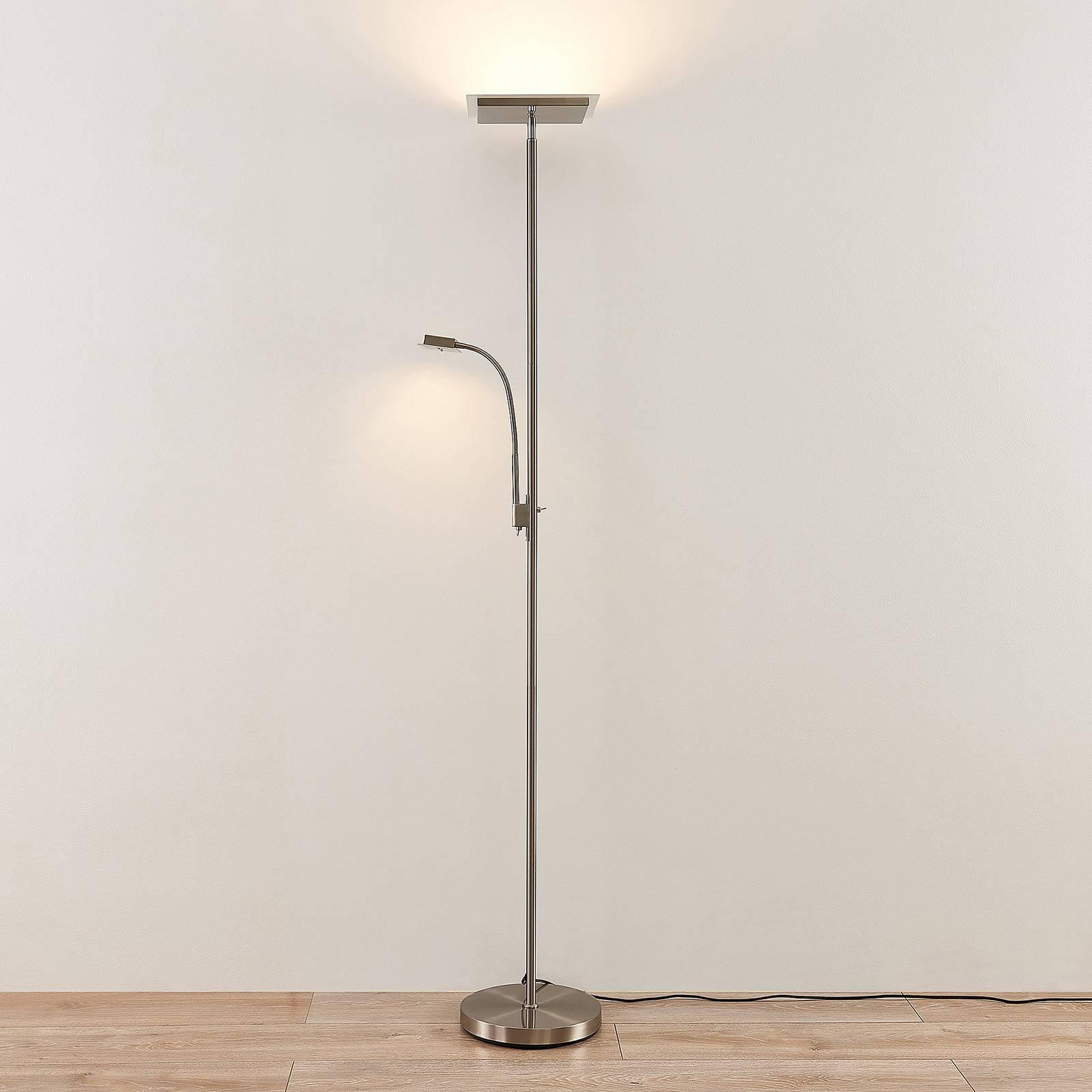 Lindby Kavi -LED-lattiavalo lukuvalolla, kulmikas