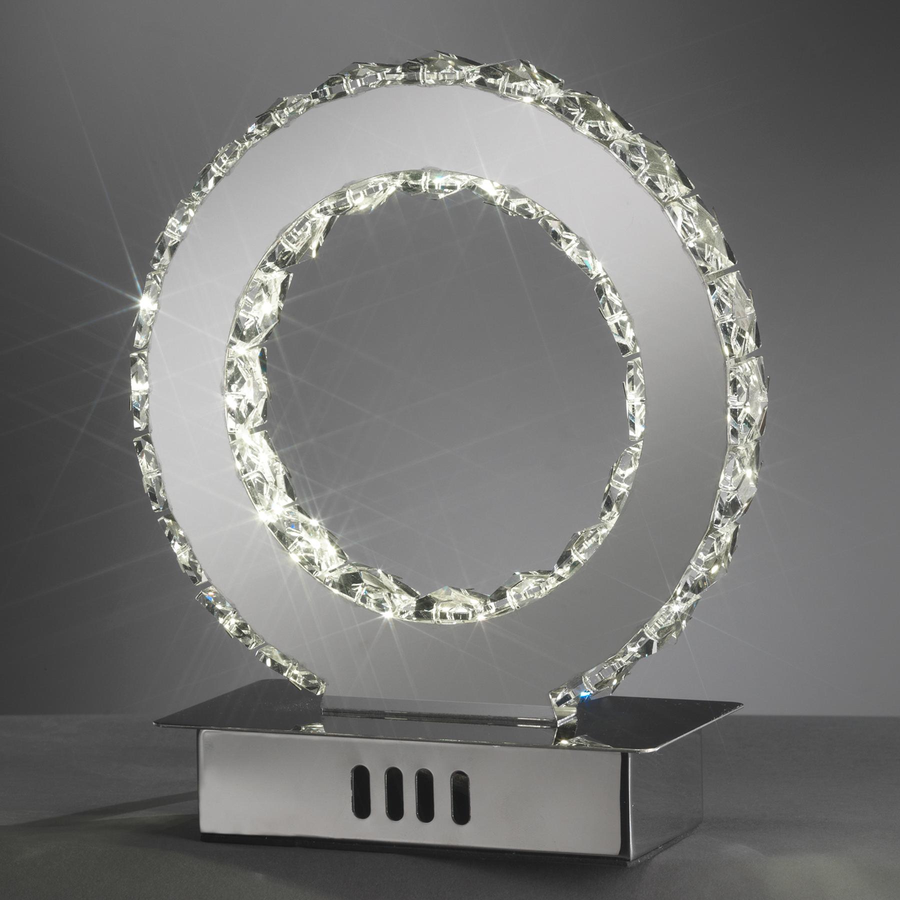 LED-pöytävalaisin Saturno, kristallilasi, 22 cm