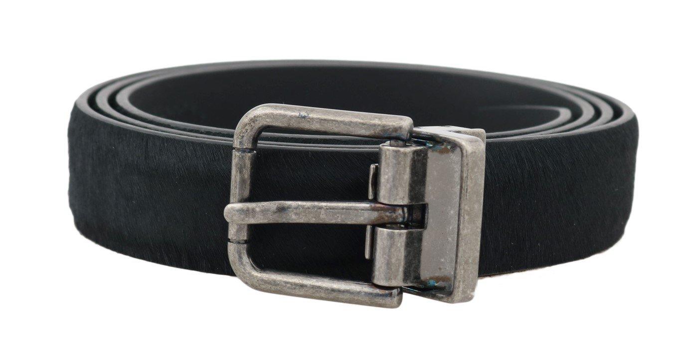 Dolce & Gabbana Men's Leather Fur Buckle Belt Black - 100 cm / 40 Inches