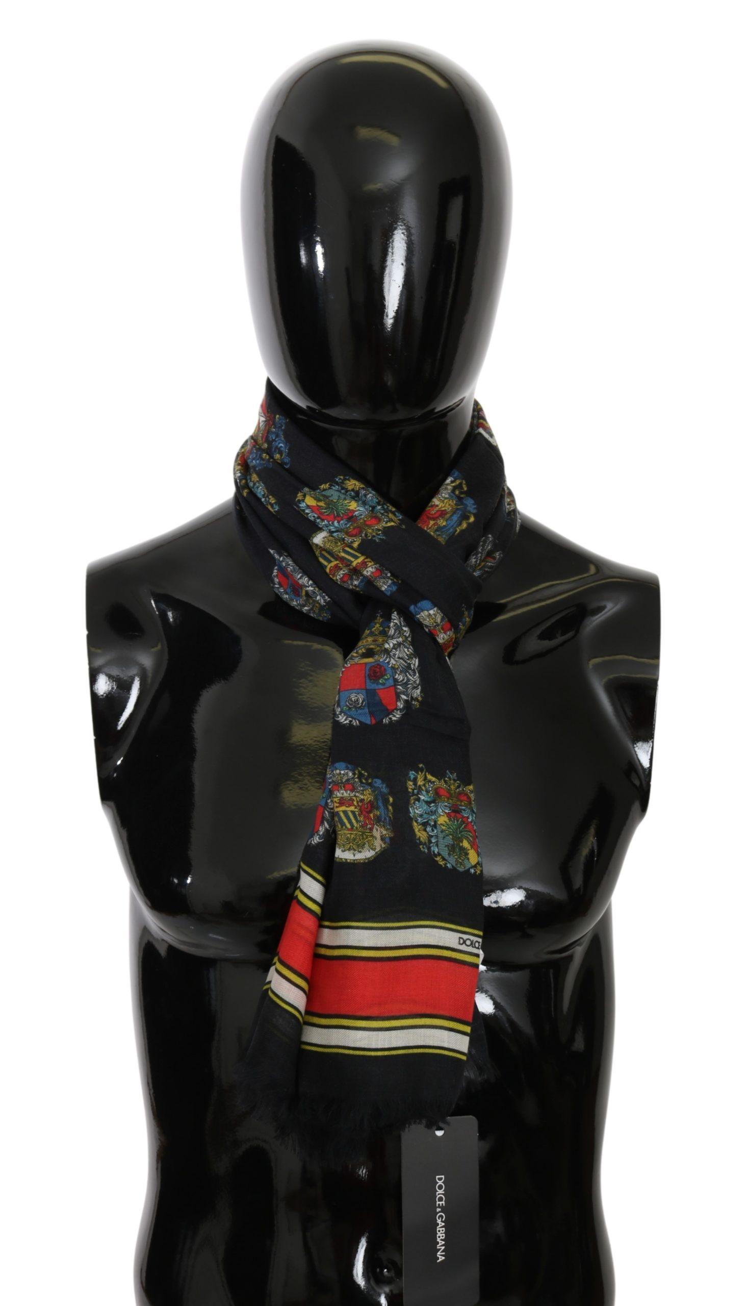 Dolce & Gabbana Men's Medal Neck Wrap Scarf Black MS5579