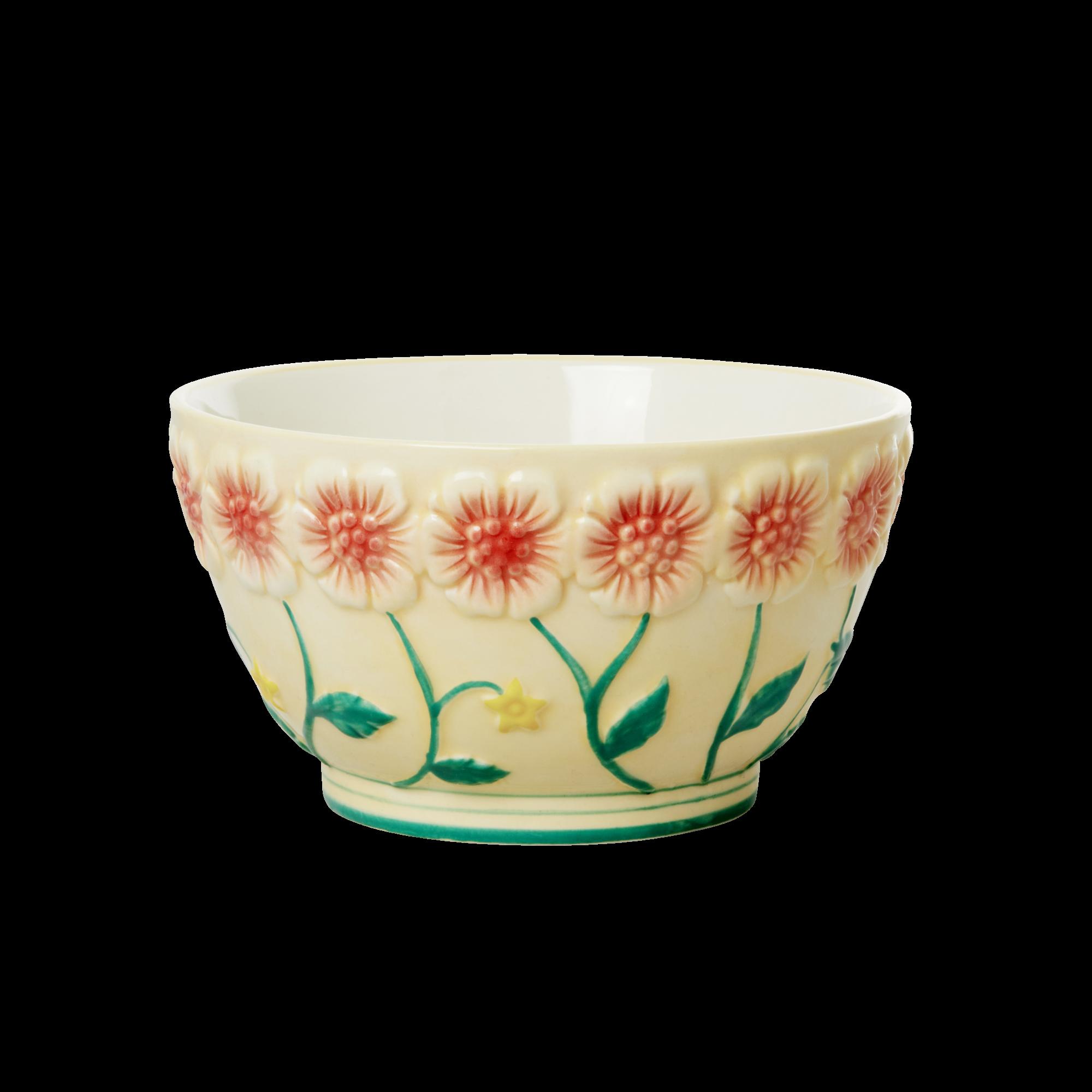 Rice - Ceramic Bowl with Embossed Flower Design - Creme
