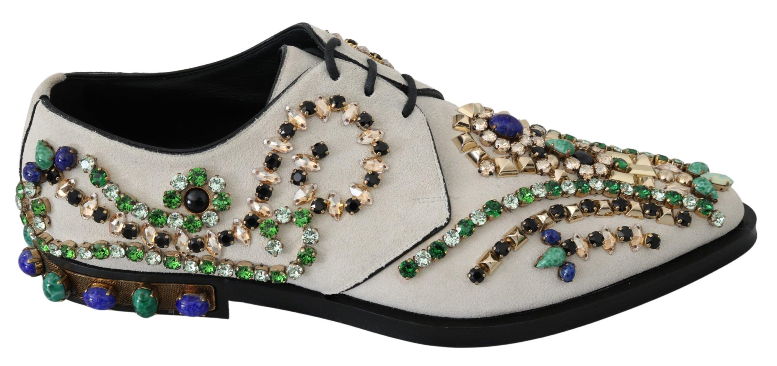 White Suede Crystal Dress Broque Shoes - EU41/US10.5
