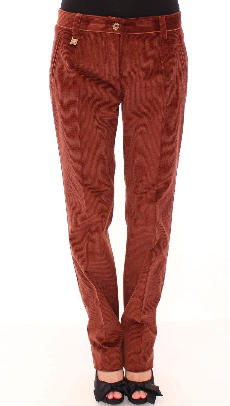 Dolce & Gabbana Women's Corduroys Straight Logo Casual Trouser Brown MOM11599 - IT46|XL