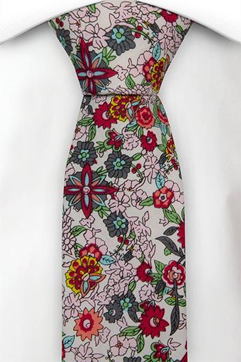 Bomull Smale Slips, Flerfargede blomster på hvit base, Hvit, Blomstrete