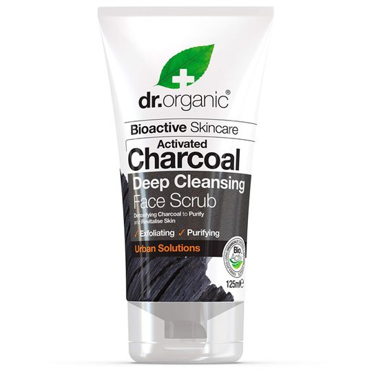 Dr. Organic Activated Charcoal Deep Cleansing Face Scrub, 125 ml