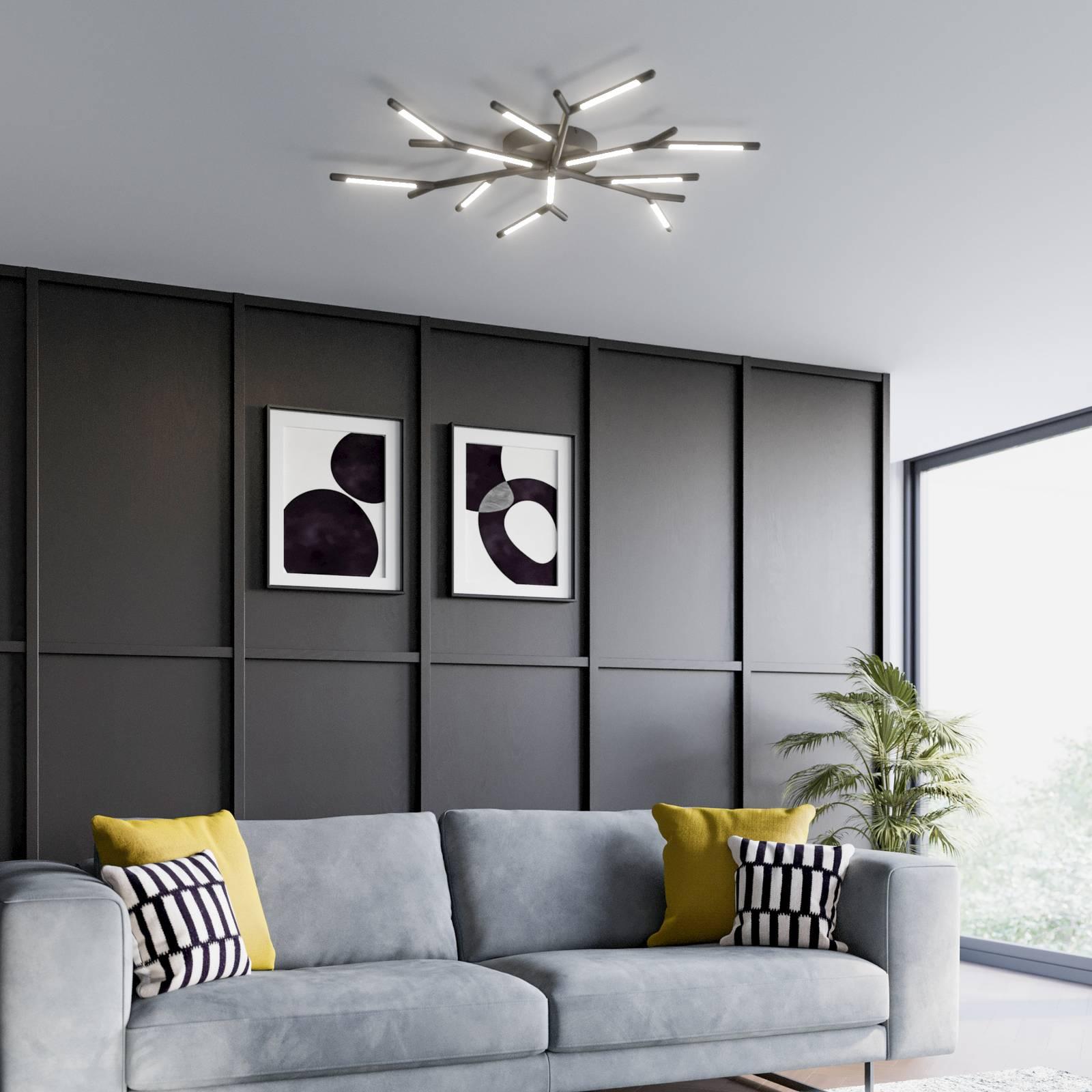 Lucande Cuerno -LED-kattovalaisin musta-valkoinen