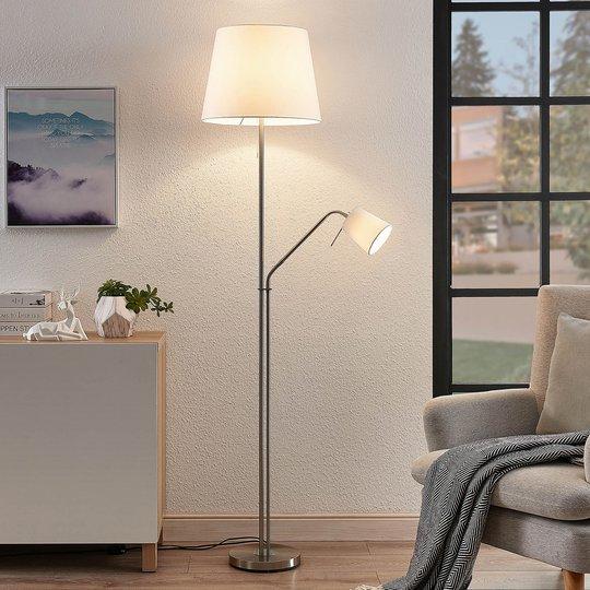 Lindby Nantwin gulvlampe, tekstilskjerm, hvit