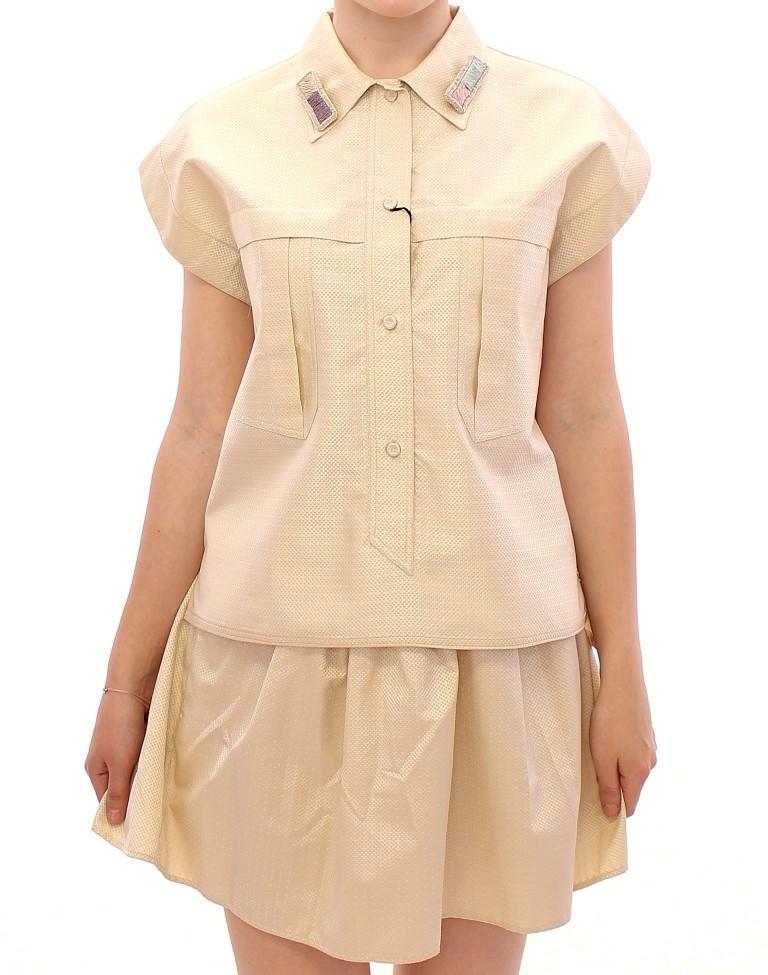 Andrea Incontri Women's Sleeveless Top Beige GSS10712 - IT44|L