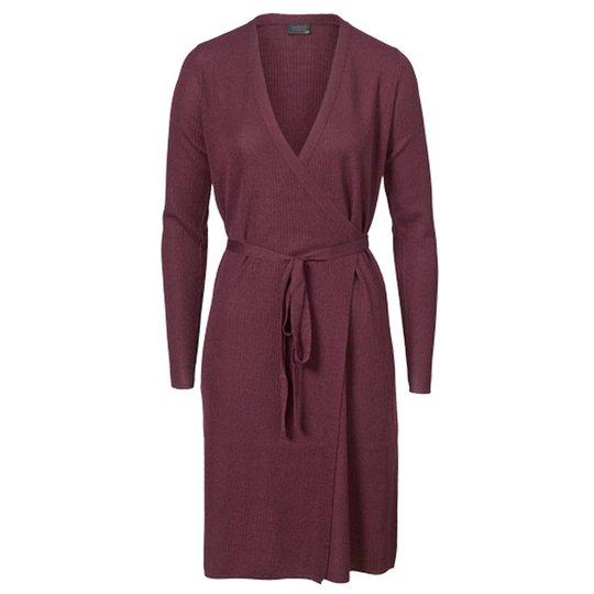 Omlottklänning Ull Burgundy Stl M - 68% rabatt