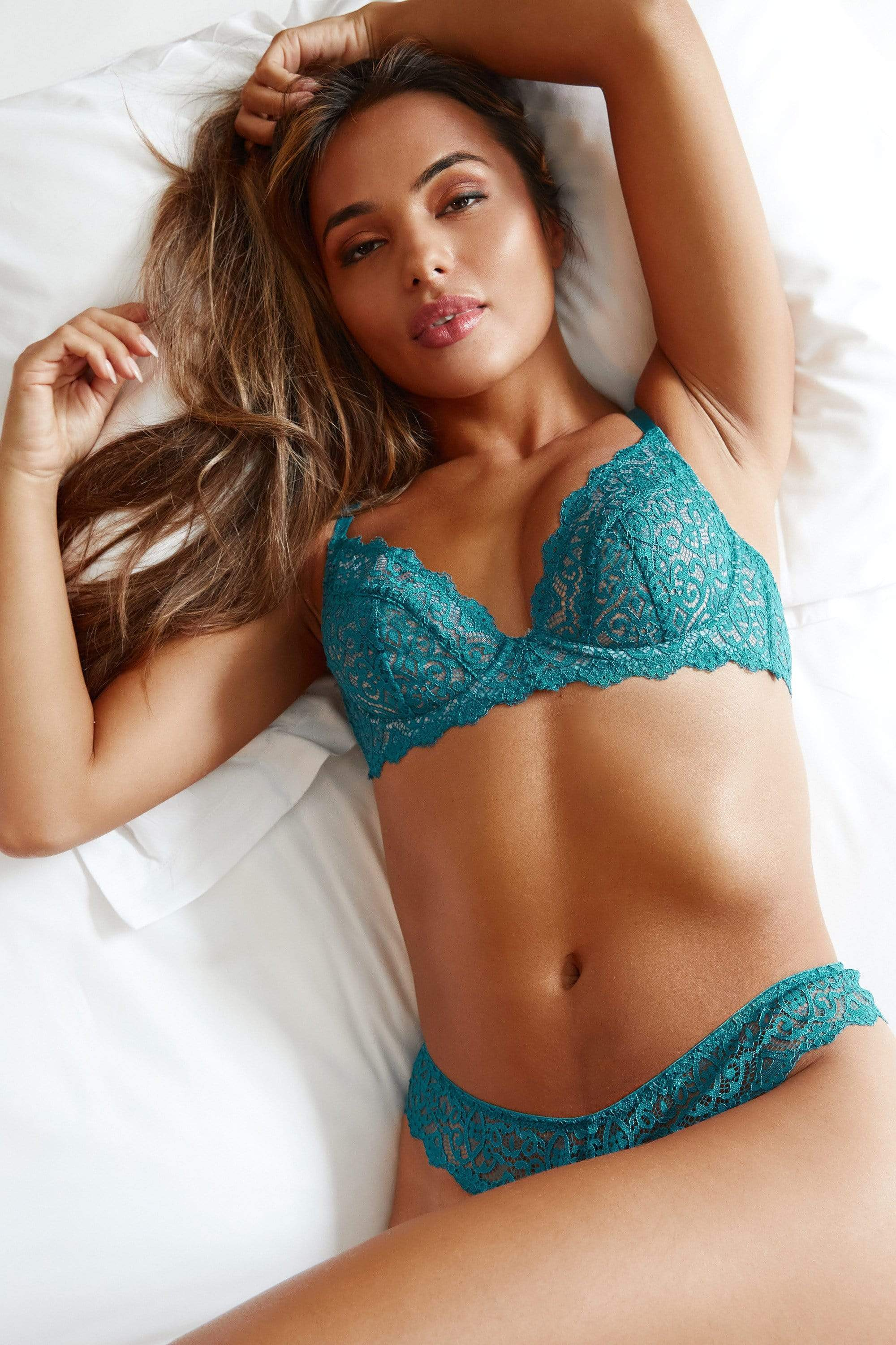Wolf & Whistle Ariana Teal Everyday Lace Bra 32B