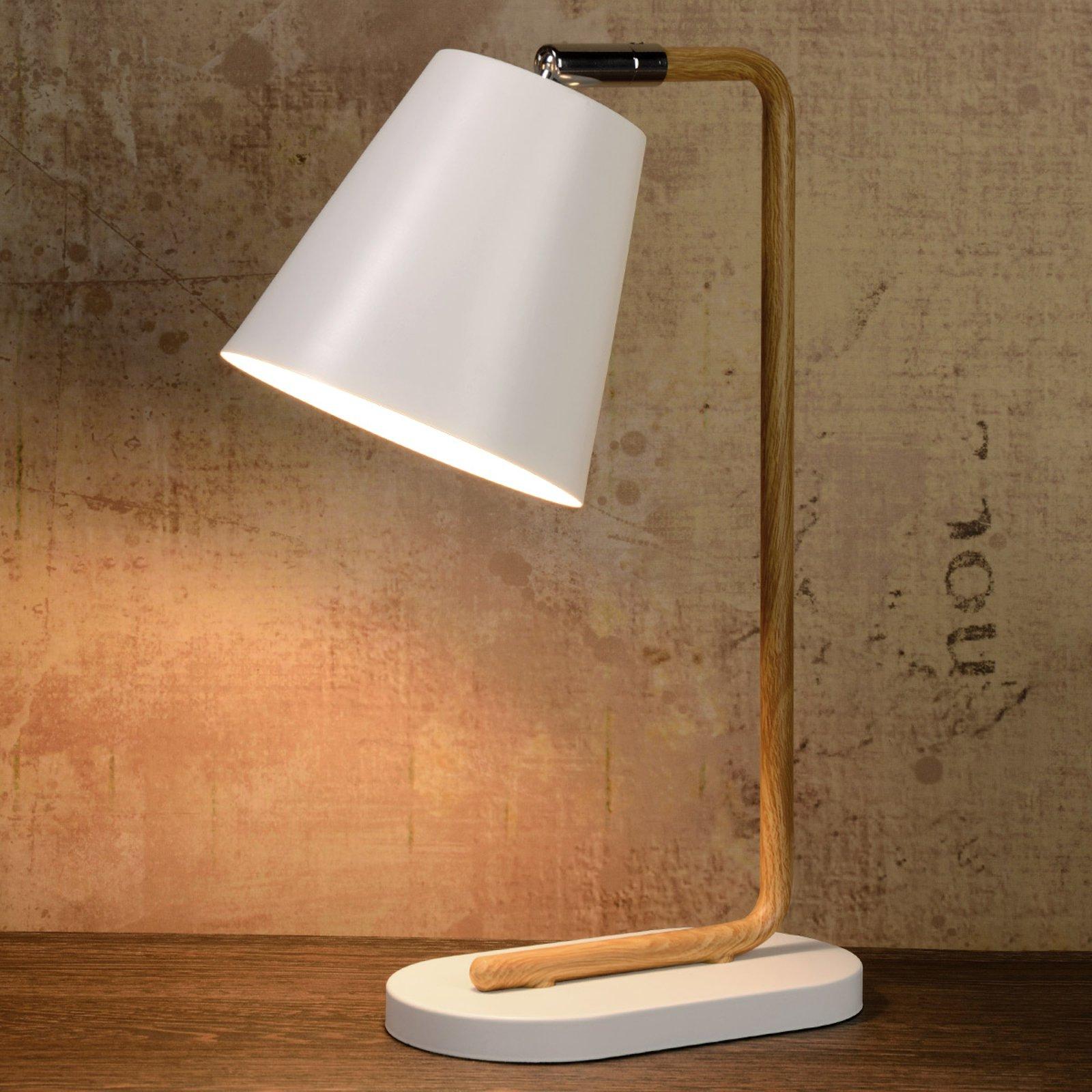 Cona – bordlampe med stamme i treimitasjon