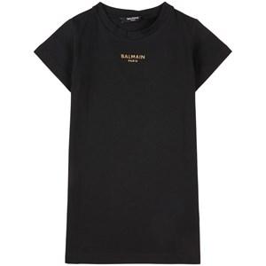 Balmain Gold Branded Tee Dress Klänning Svart 4 år