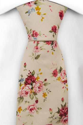 Bomull Slips, Rosa, røde, blå & gule blomster på sjampagne, Beige, Blomster