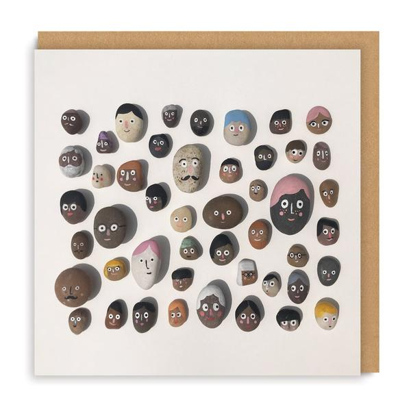 Stone Faces Square Greeting Card