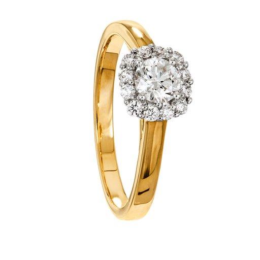 Diamantring i 18K guld, 17.5