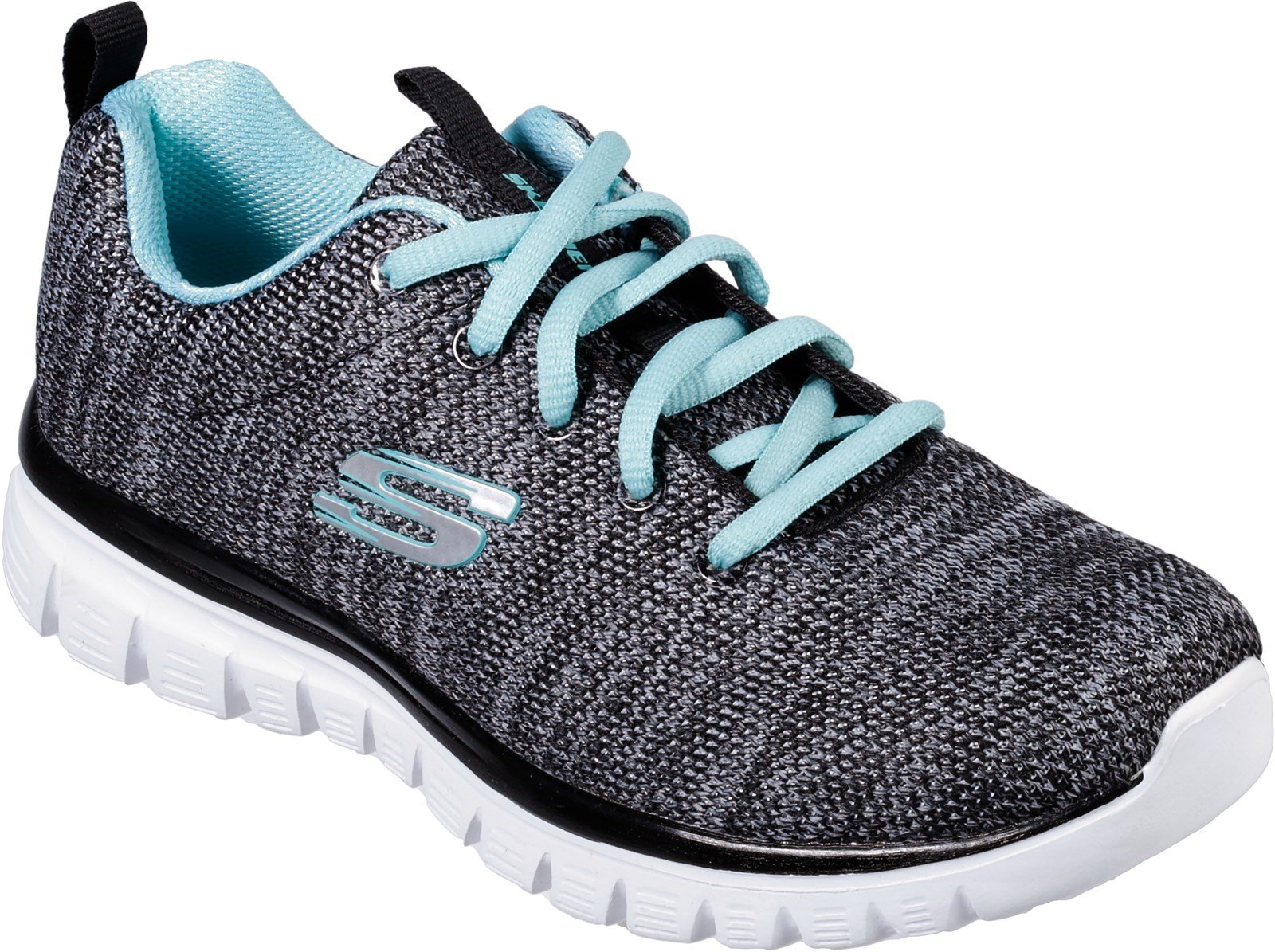 Skechers Women's Graceful Twisted Fortune Trainer Multicolor 31940 - Black/Turquoise 3
