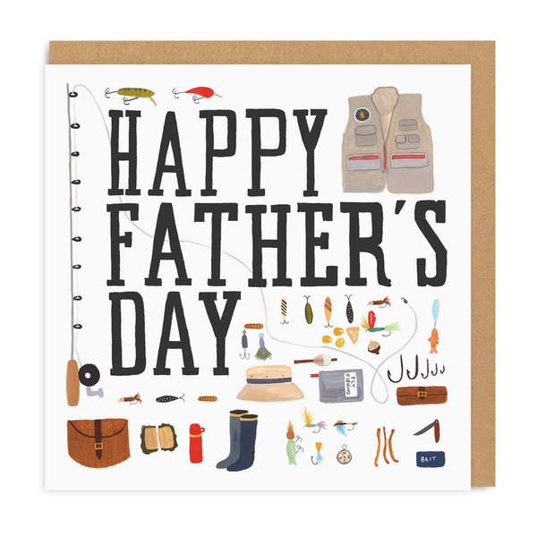 Father's Day Fishing Square Greeting Card