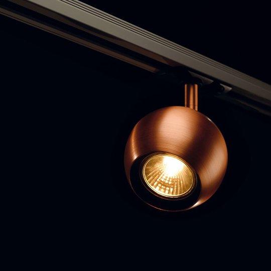 Pyöreä spotti Light Eye 1-vaihevirtakiskoon kupari