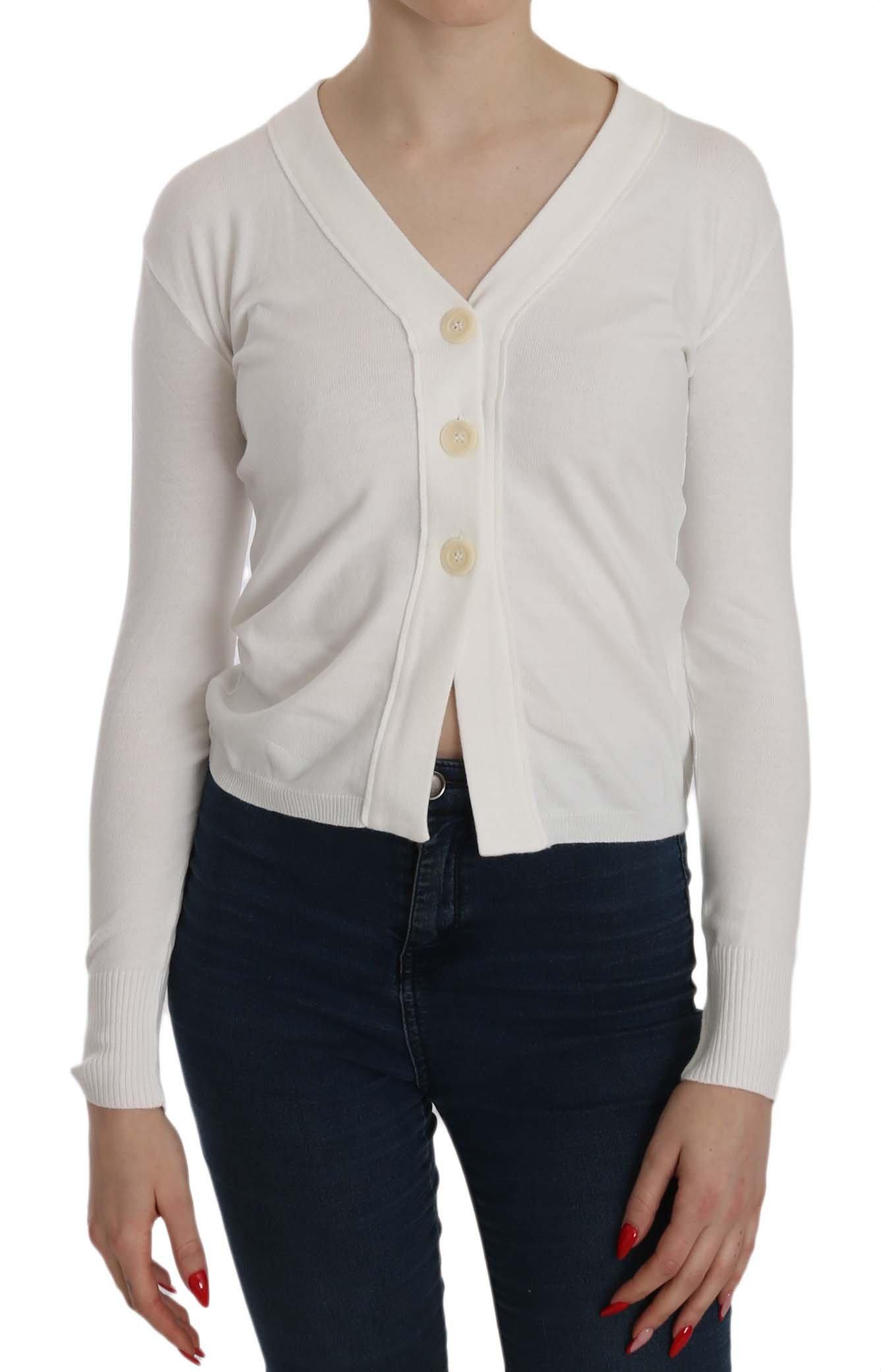 BYBLOS Women's V-neck LS Cropped Cardigan White TSH3905 - M