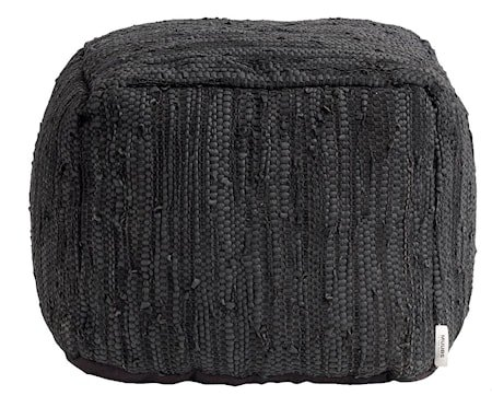 Ash Puff Svart Lær 45x45x35 cm