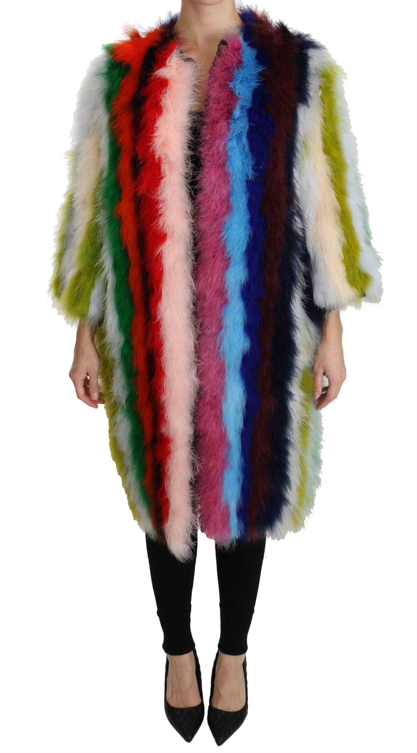 Dolce & Gabbana Women's Turkey Feather Cape Fur Coat Multicolor JKT2511 - IT40 S