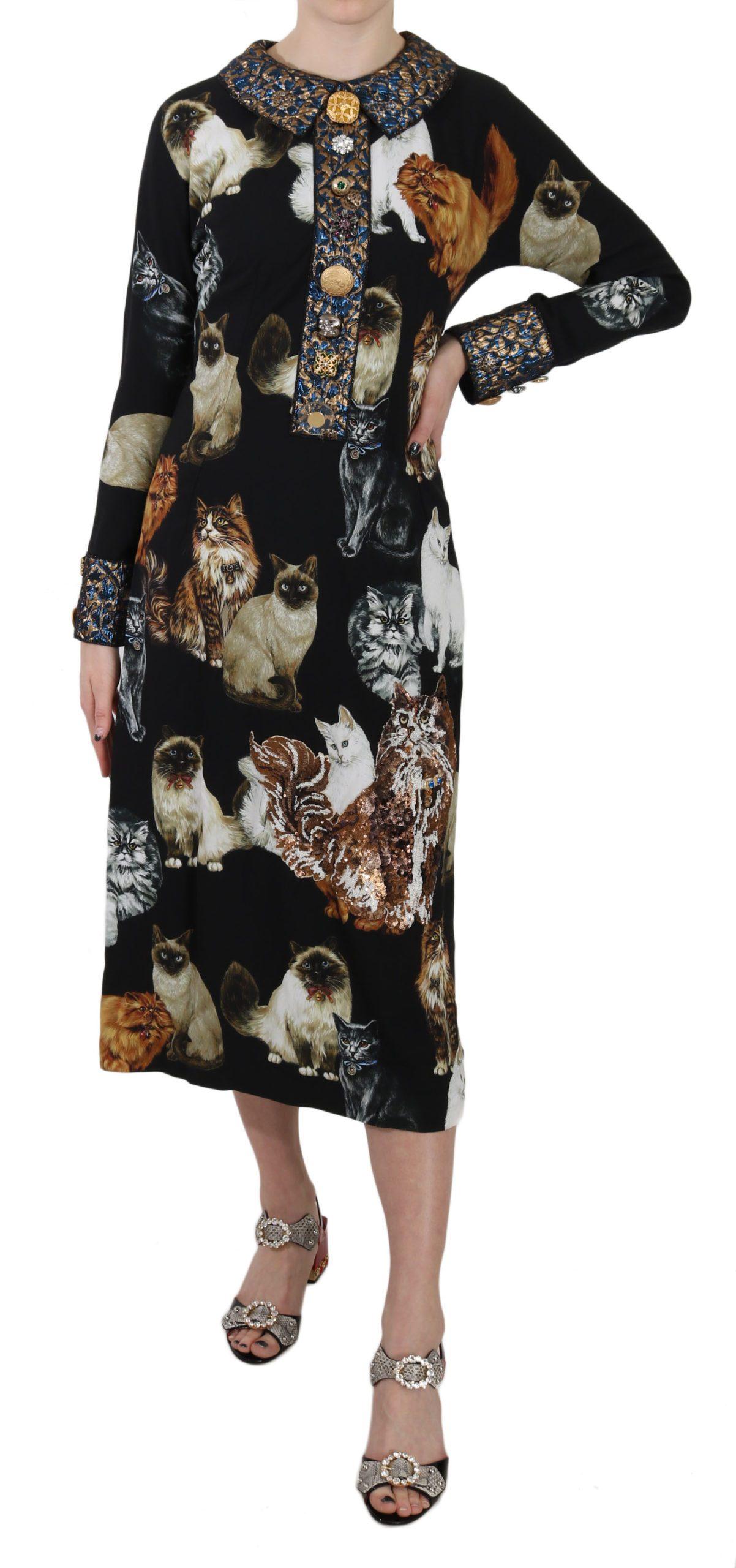 Dolce & Gabbana Women's Bengal Cat Crystal Jacquard Dress Black DR1661 - IT42|M