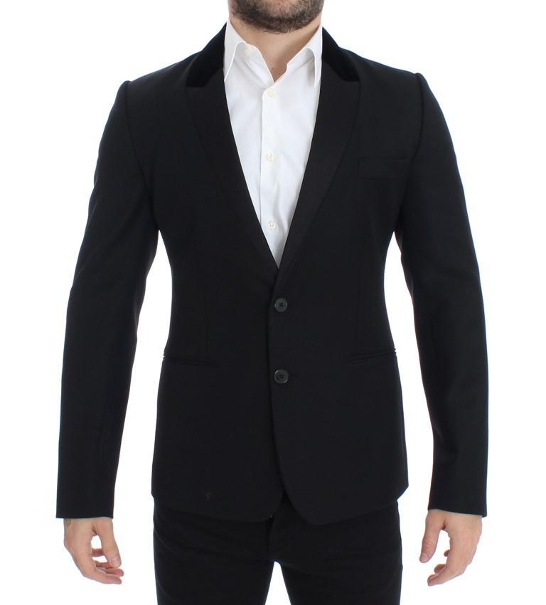 Dolce & Gabbana Men's Wool stretch two button Blazer Black SIG12306 - IT48 | M