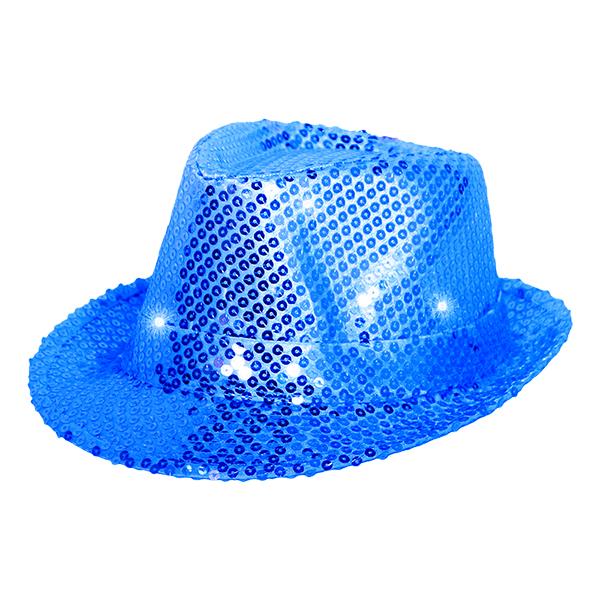 Trilby Paljetthatt Blå LED